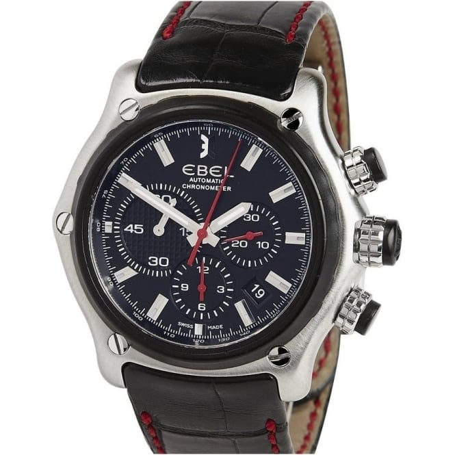 Pre-Owned Ebel 1911 BTR Automatic Chronograph Black Dial Strap Watch (RRP £4450)