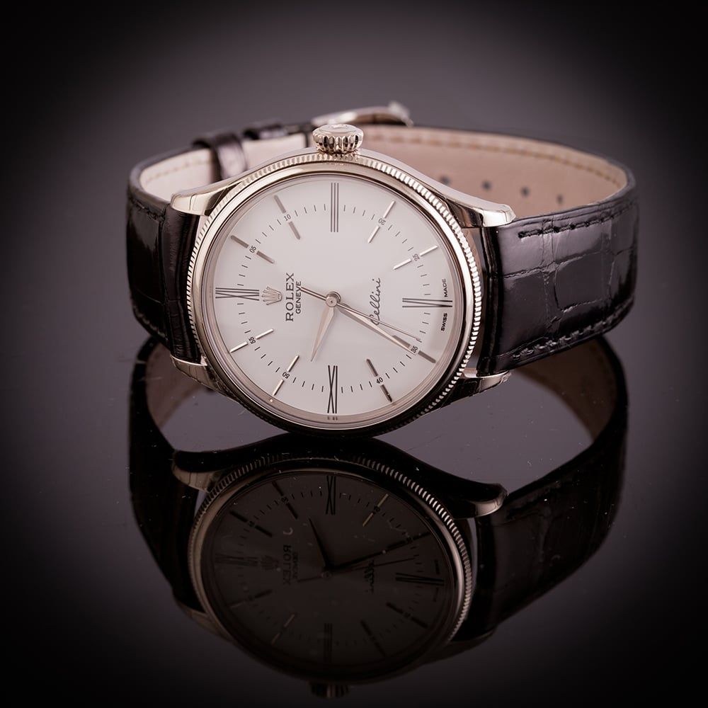 Gentlemen 39 s pre owned unworn 18k white gold rolex cellini time white dial strap watch for Rolex cellini