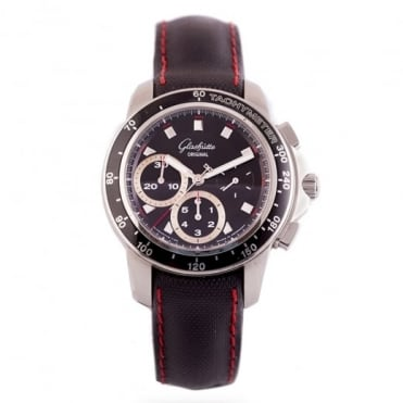 Pre-Owned Glashutte Automatic Chronograph Black Dial Strap Watch (RRP £4795)
