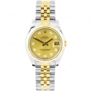 Pre-Owned Ladies ROLEX Datejust 31 Steel & 18K Yellow Gold Champagne / Diamond Dot Dial Bracelet Watch (RRP - £8600)