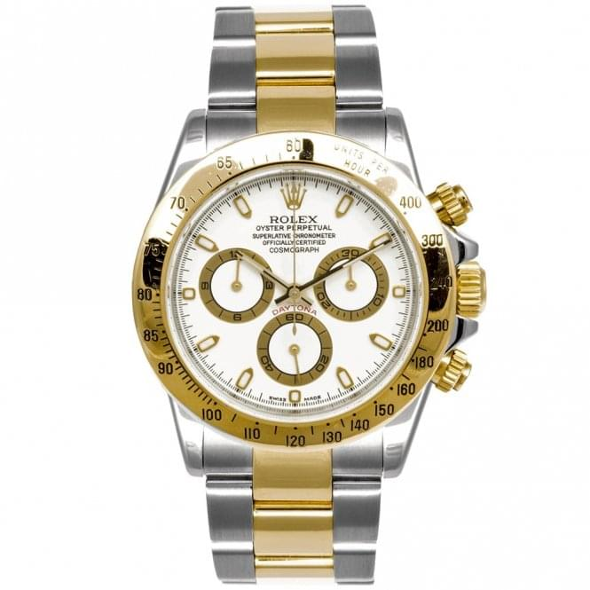 Pre Owned Pre Owned Rolex Cosmograph Daytona Steel Yellow Gold White Dial Bracelet Watch Rrp 12 400