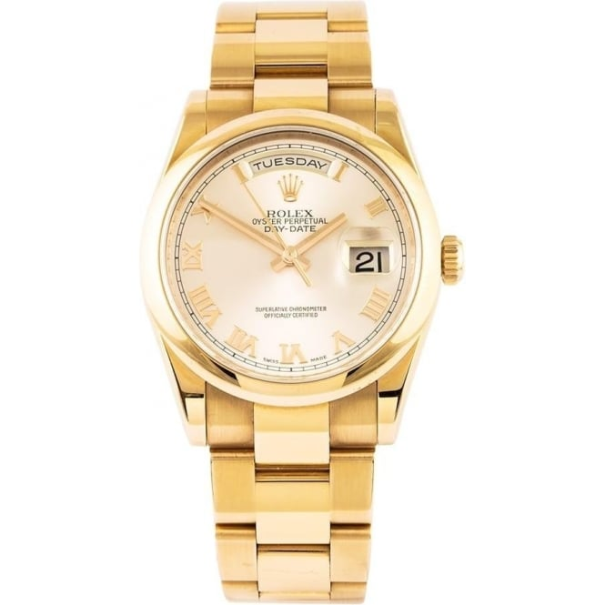 Pre-Owned ROLEX Day-Date 36mm 18K Yellow Gold Champagne Dial Bracelet Watch (RRP - £21,850)