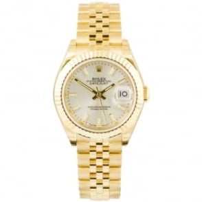 Pre-Owned Unworn Ladies ROLEX 18K Yellow Gold Datejust 28 Silver Dial Bracelet Watch (RRP - £17,250)