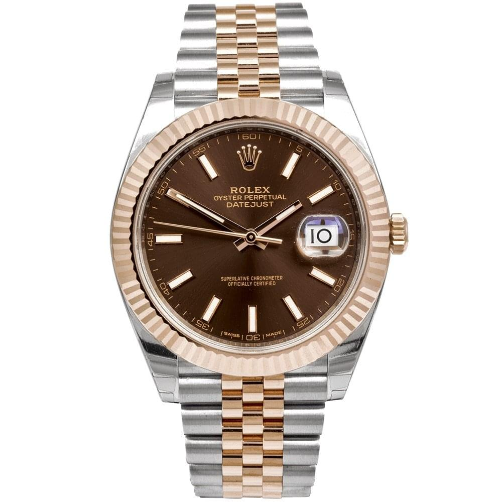 Pre,Owned Pre,Owned / Unworn ROLEX Datejust 41mm Steel \u0026 Rose Gold  Chocolate Dial Bracelet Watch (RRP , £9550)