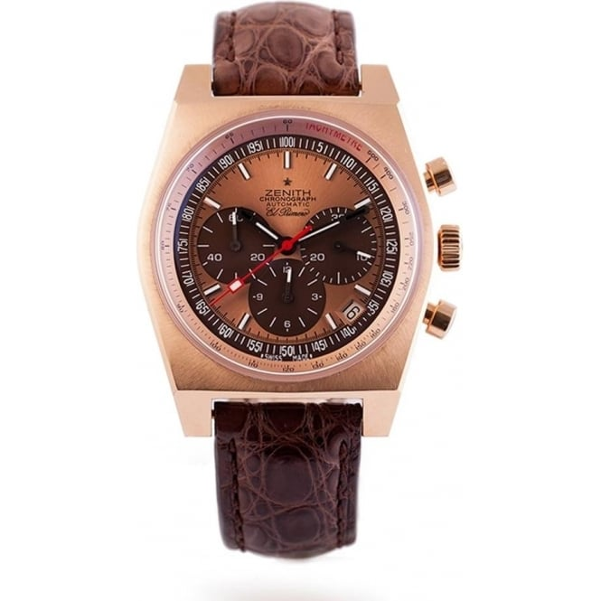 Pre-Owned Zenith El Primero Vintage 1969 18K Rose Gold Limited Edition Rose Gold Dial Strap Watch (RRP - £12,750)