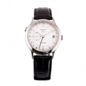 Pre-Owned Zenith Elite Dual-Time Silver Dial Strap Watch (RRP £3150)