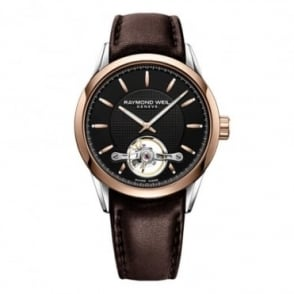 Raymond Weil Freelancer Automatic Calibre 1212 Steel & Rose Gold Open Balance Wheel Black Dial Strap Watch