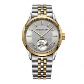 Raymond Weil Freelancer Automatic Calibre 1212 Steel & Yellow Gold Open Balance Wheel Silver Dial Bracelet Watch