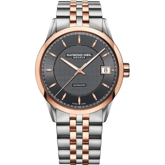 Raymond Weil Freelancer Automatic Steel & Rose Gold Anthracite Dial Bracelet Watch