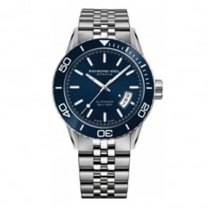 Raymond Weil Freelancer Diver Automatic Blue Ceramic Bezel / Blue Dial Bracelet Watch