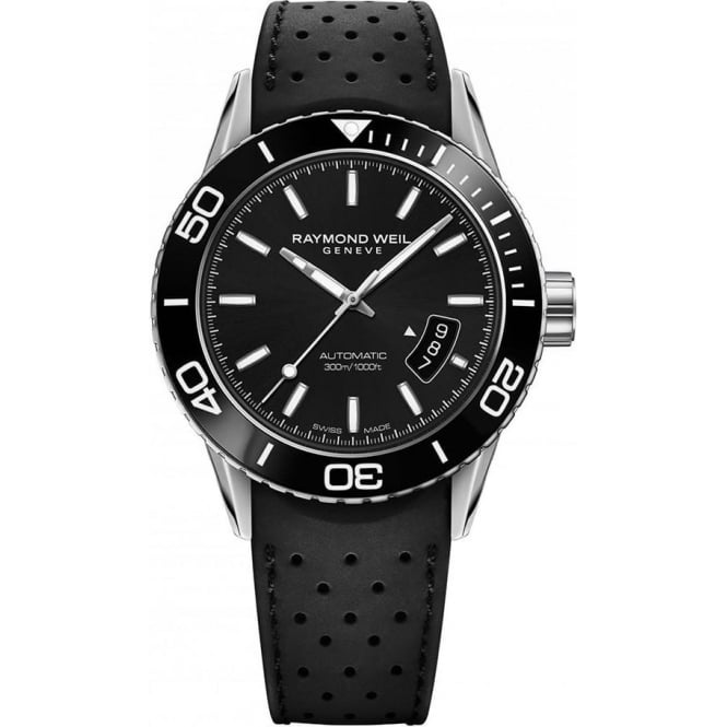 Raymond Weil Gentlemen's Freelancer Diver Automatic Black Ceramic Bezel / Black Dial Strap Watch
