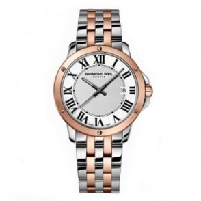 Raymond Weil Gentlemen's Tango Steel & Rose Gold PVD White Dial Bracelet Watch