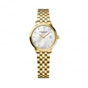 Raymond Weil Ladies Toccata Yellow Gold PVD Diamond Dot / Mother of Pearl Dial Bracelet Watch