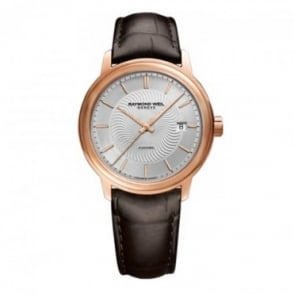 Raymond Weil Maestro Automatic Rose Gold Silver Dial Strap Watch