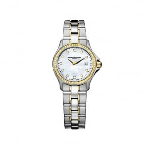 Raymond Weil Parsifal Steel & Yellow Gold Diamond Bezel / Diamond Dot / Mother of Pearl Dial Bracelet Watch