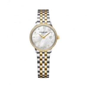 Raymond Weil Toccata 29mm Steel and Yellow Gold Diamond Bezel / Diamond Dot / Mother of Pearl Dial Bracelet Watch