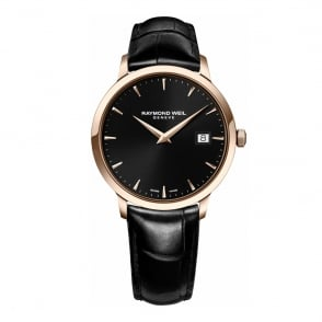 Raymond Weil Toccata 39mm Rose Gold Black Dial Strap Watch