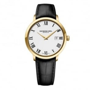 Raymond Weil Toccata 39mm Yellow Gold White Dial Strap Watch