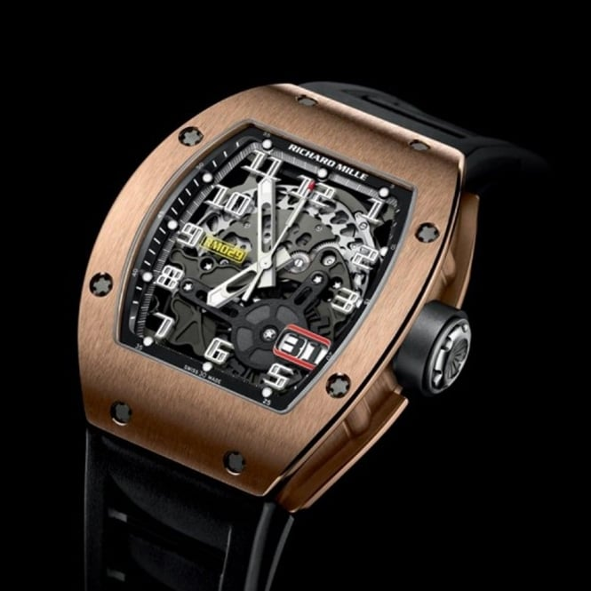 Richard Mille RM 029 Automatic 18K Rose Gold Skeletonised Dial Strap Watch