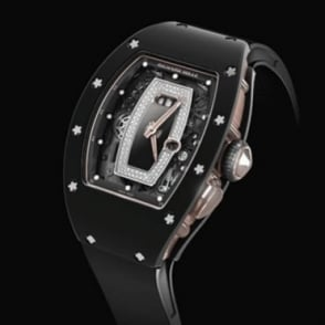 Richard Mille RM 037 Black Ceramic & 18K Rose Gold Automatic Diamond & Onyx Dial Strap Watch