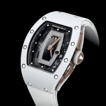 Richard Mille RM 037 White Ceramic & 18K Rose Gold Automatic Diamond & Onyx Dial Strap Watch