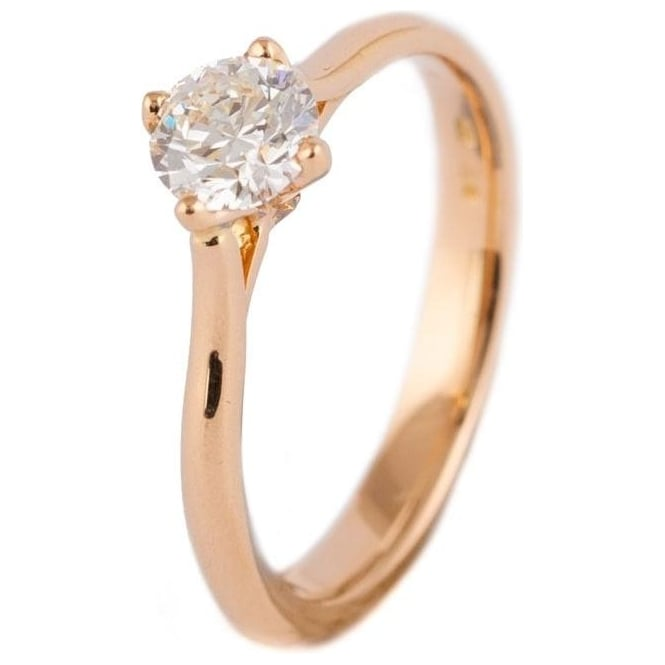 Owen & Robinson Rose Gold Round Brilliant Cut Solitaire Diamond Engagement Ring
