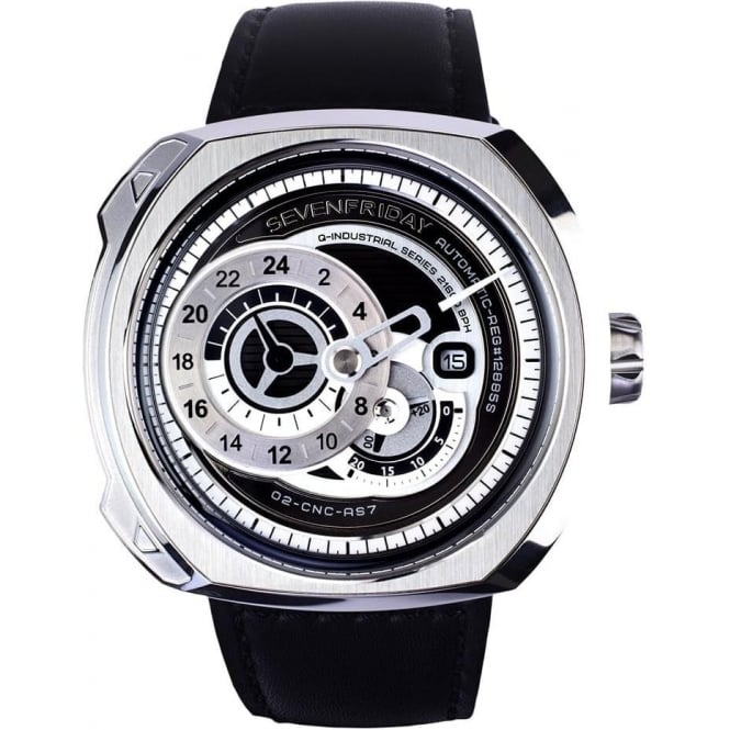 SEVENFRIDAY Q-Series Q1/01 Silver / Black Dial Strap Watch