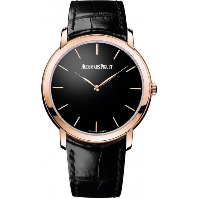 * SPECIAL OFFERS * Audemars Piguet Jules Audemars Extra-Thin 18K Rose Gold Automatic Black Dial Strap Watch
