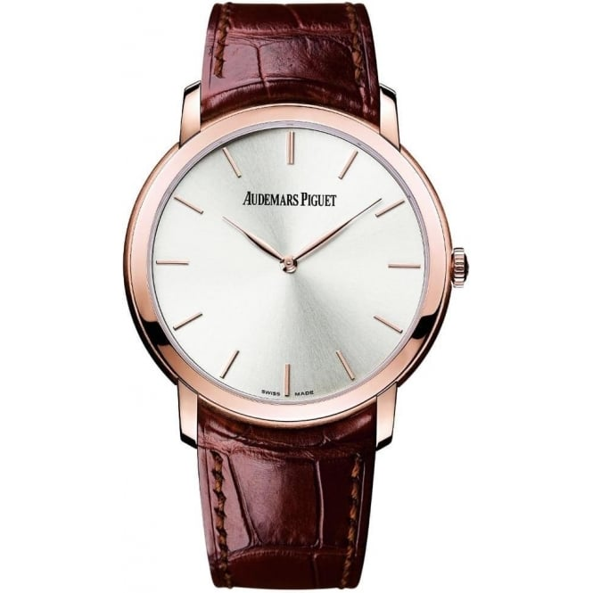 * SPECIAL OFFERS * Audemars Piguet Jules Audemars Extra-Thin 18K Rose Gold Automatic Silver Dial Strap Watch
