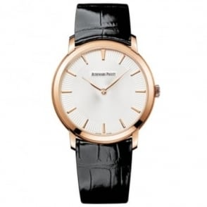 * SPECIAL OFFERS * Audemars Piguet Jules Audemars Extra-Thin 18K Rose Gold Automatic Silver Patterned Dial Strap Watch