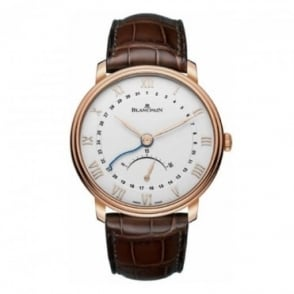 * SPECIAL OFFERS * Blancpain 18K Rose Gold Villeret Pointer Date Automatic Silver Dial Strap Watch