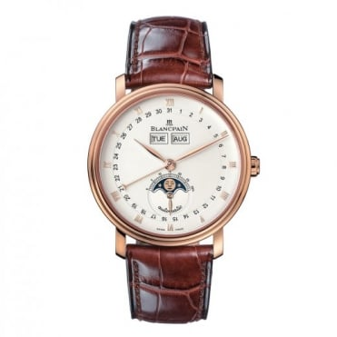 * SPECIAL OFFERS * Blancpain 18K Rose Gold Villeret Quantieme Complet 38mm Automatic Silver Dial Strap Watch
