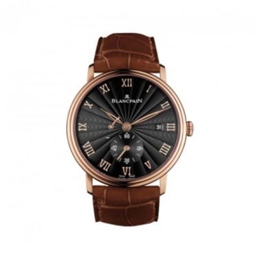 * SPECIAL OFFERS * Blancpain 18K Rose Gold Villeret Ultraplate Handwound Black Dial Strap Watch