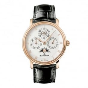 * SPECIAL OFFERS * Blancpain Villeret Perpetual Calendar 18K Rose Gold Automatic Silver Dial Strap Watch