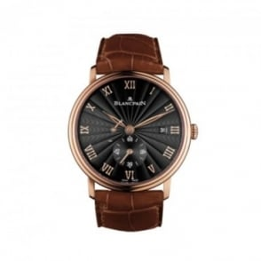 * SPECIAL OFFERS * Blancpain Villeret Ultra-Slim 18K Rose Gold Handwound Black Dial Strap Watch