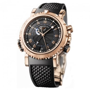 * SPECIAL OFFERS * Breguet Marine Royale Alarm 18K Rose Gold Black Dial Strap Watch