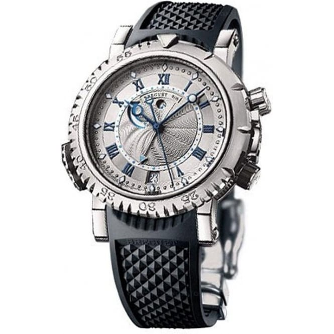 * SPECIAL OFFERS * Breguet Marine Royale Alarm 18K White Gold Silver Dial Strap Watch