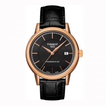 Carson Rose Gold Automatic Black Dial Strap Watch