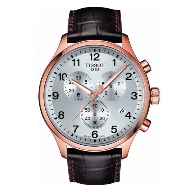 Tissot Chrono XL Classic Rose Gold Silver Dial Strap Watch
