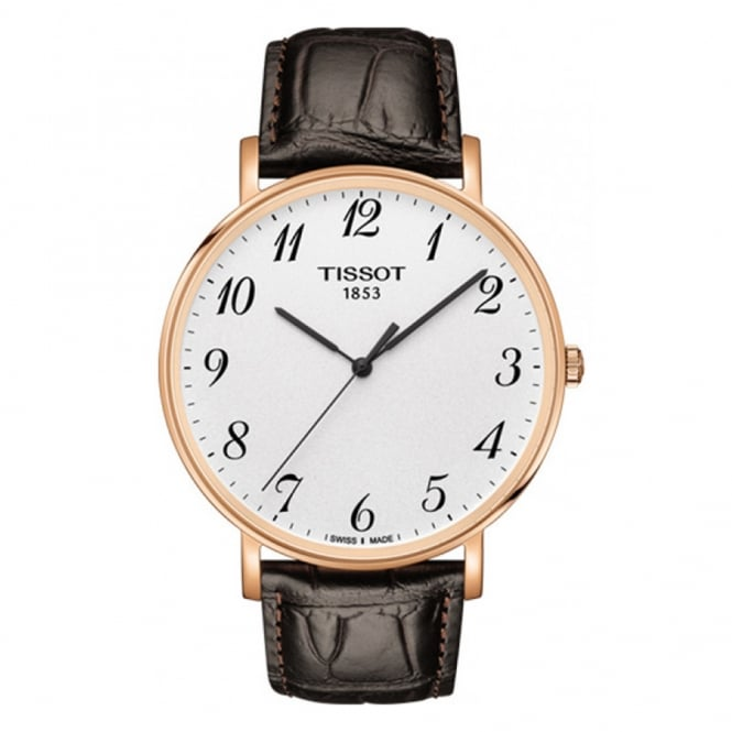 Tissot Everytime Large Rose Gold PVD Silver Dial Strap Watch