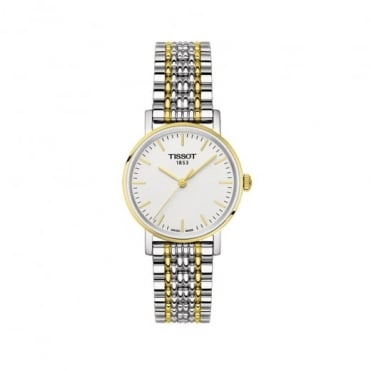 Tissot Ladies Everytime Steel & Yellow Gold PVD White Dial Bracelet Watch