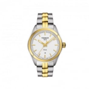 Tissot Ladies PR100 Steel & Yellow Gold PVD Silver Dial Bracelet Watch
