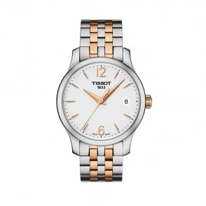 Tissot Ladies Tradition Steel & Rose Gold Silver Dial Bracelet Watch