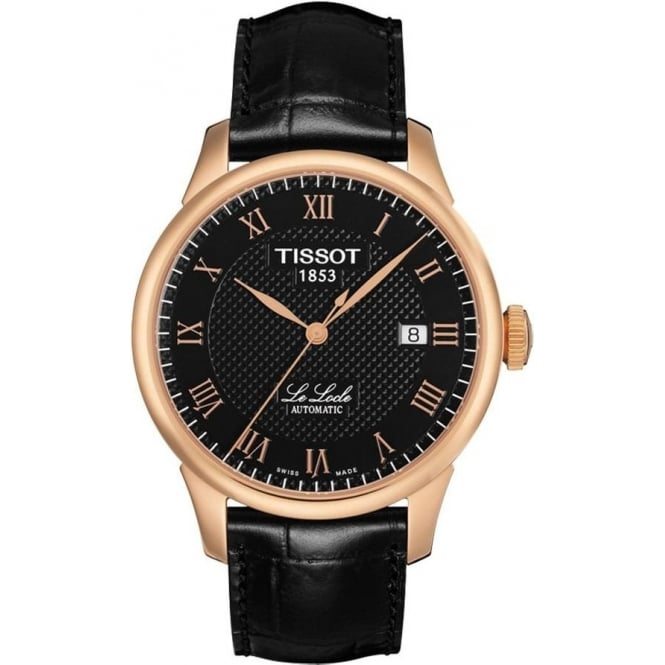 Tissot Le Locle Automatic Rose Gold PVD Black Dial Strap Watch