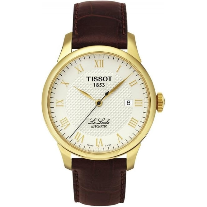 Tissot Men's Le Locle Automatic Yellow Gold PVD Ivory Dial Strap Watch