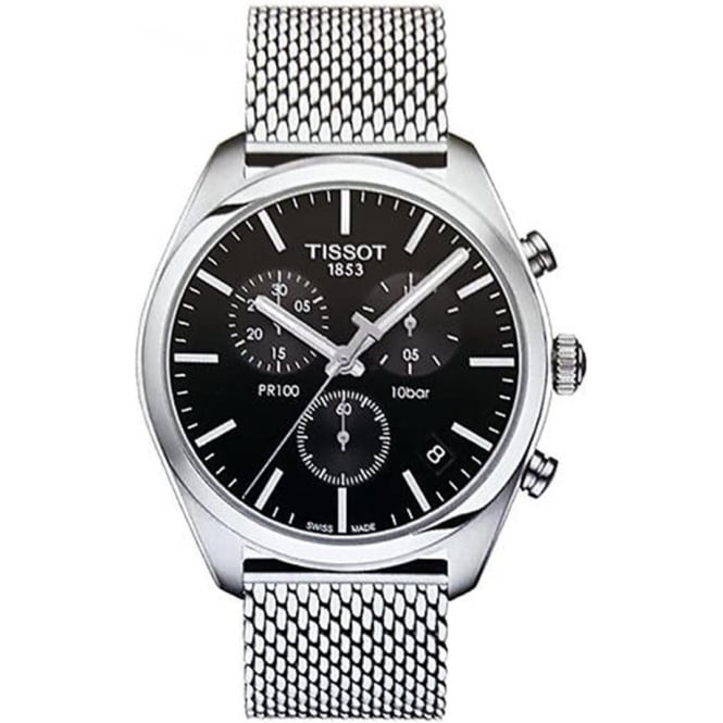 Tissot Men's PR100 Chronograph Black Dial Mesh Bracelet Watch