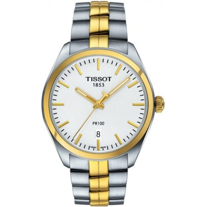 Tissot Men's PR100 Steel & Yellow Gold PVD Silver Dial Bracelet Watch