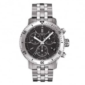 Tissot Men's PRS 200 Chronograph Black Dial Bracelet Watch