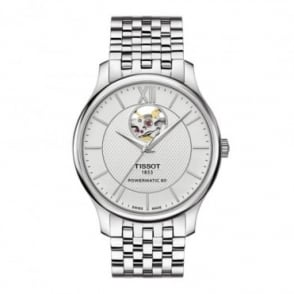 Tissot Men's Tradition Automatic Open Heart Silver Dial Bracelet Watch