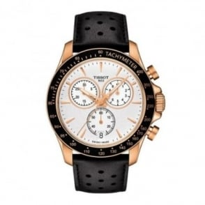 Tissot Men's V8 Chronograph Rose Gold PVD Black Bezel / Silver Dial Strap Watch